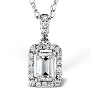 Jewelry - 1.50 Carats Emerald And Round Cut Diamonds Pendant